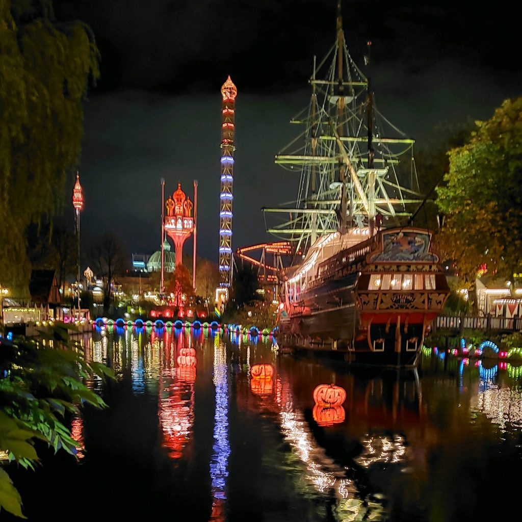 festival lit up at night in Denmark on fiber tour