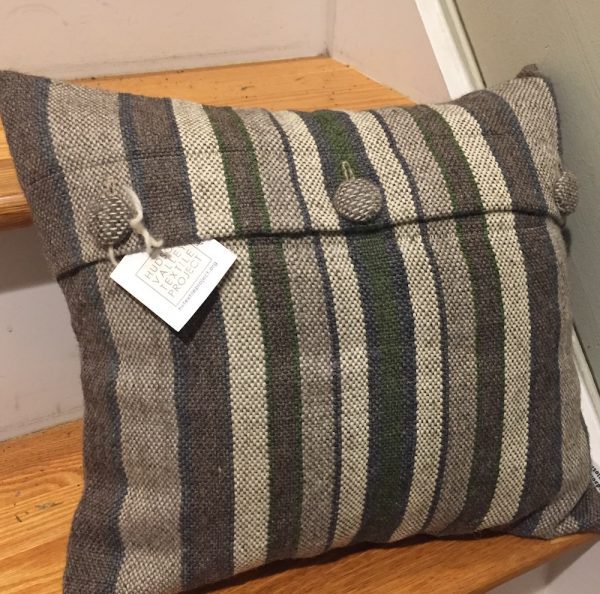 Handwoven Striped Pillow Cover