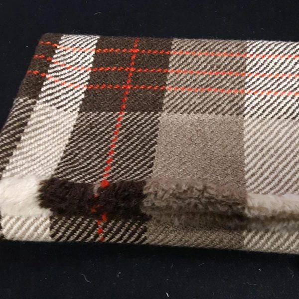 Handwoven grey wool blanket with red stripes
